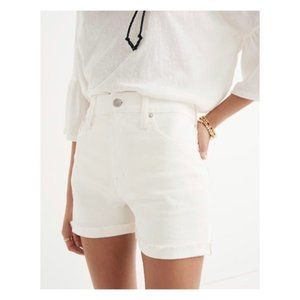 NWT J. Crew High Rise White Denim Roll Shorts, 26